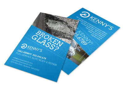 Broken Glass Auto Repair Flyer Template preview