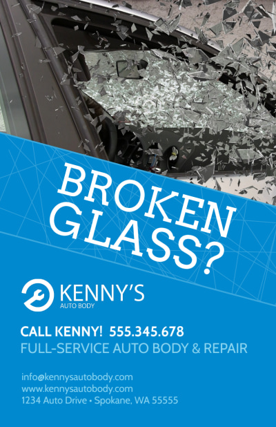 Broken Glass Auto Repair Flyer Template Preview 1