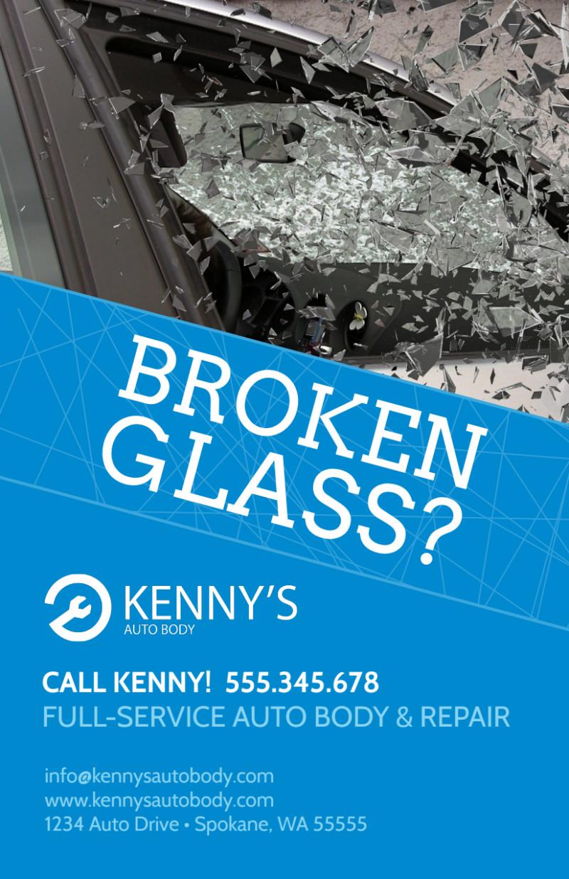 Broken Glass Auto Repair Flyer Template Preview 2