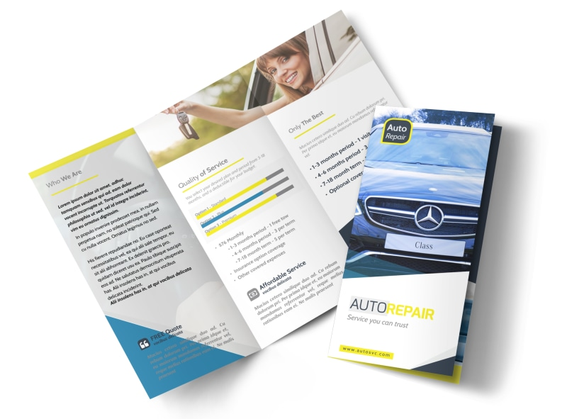 Trustworthy Auto Repair Tri-Fold Brochure Template