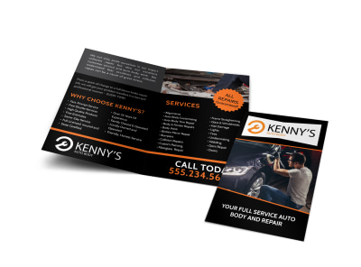 Auto Repair Services Bi-Fold Brochure Template preview