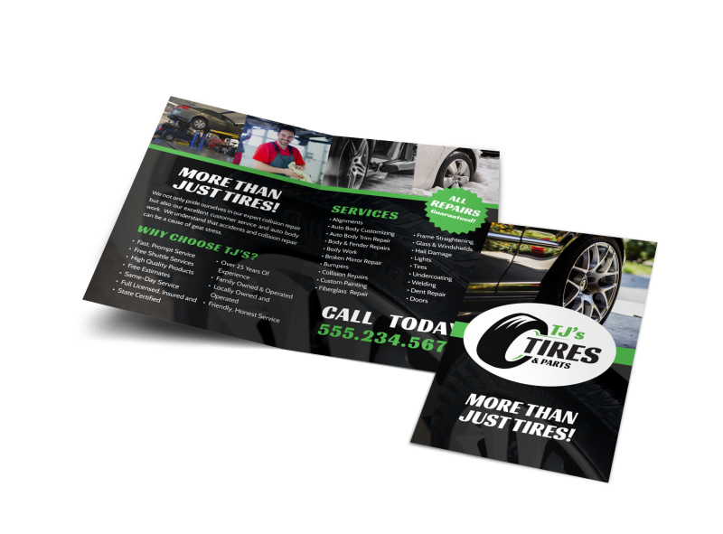 Tire Auto Repair Bi-Fold Brochure Template