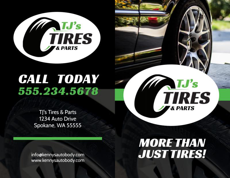Tire Auto Repair Bi-Fold Brochure Template Preview 2