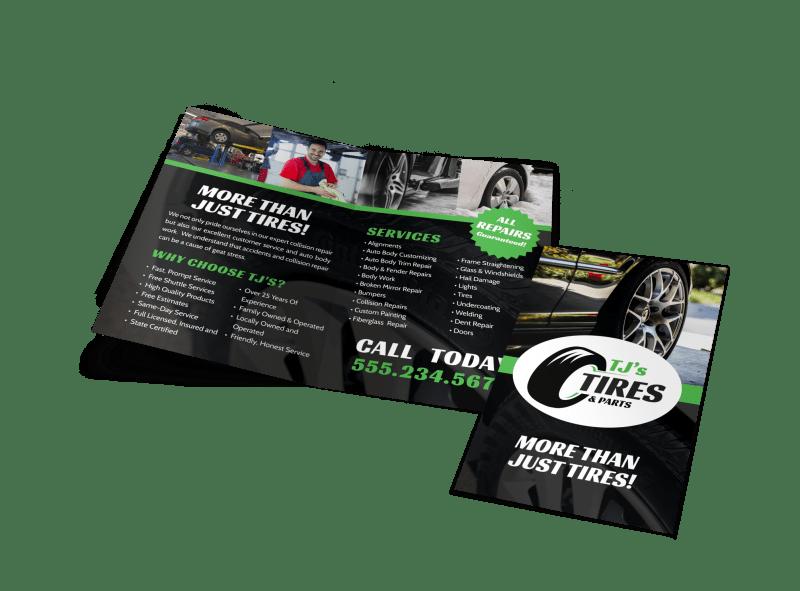Tire Auto Repair Bi-Fold Brochure Template Preview 1