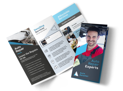 Auto Repair Experts Tri-Fold Brochure Template preview