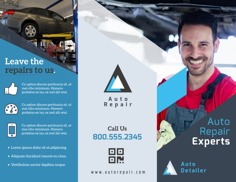 Auto Repair Experts Tri-Fold Brochure Template Preview 2