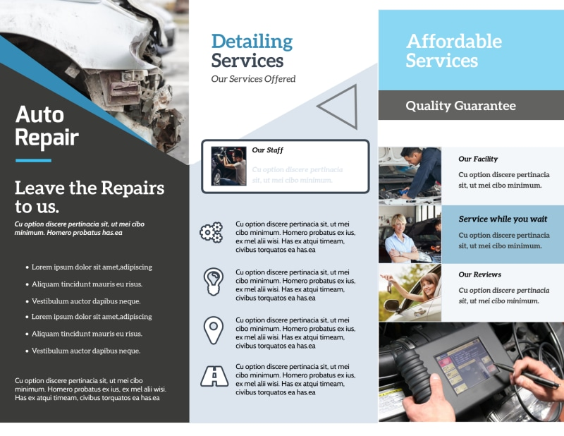 Auto Repair Experts Tri-Fold Brochure Template Preview 3