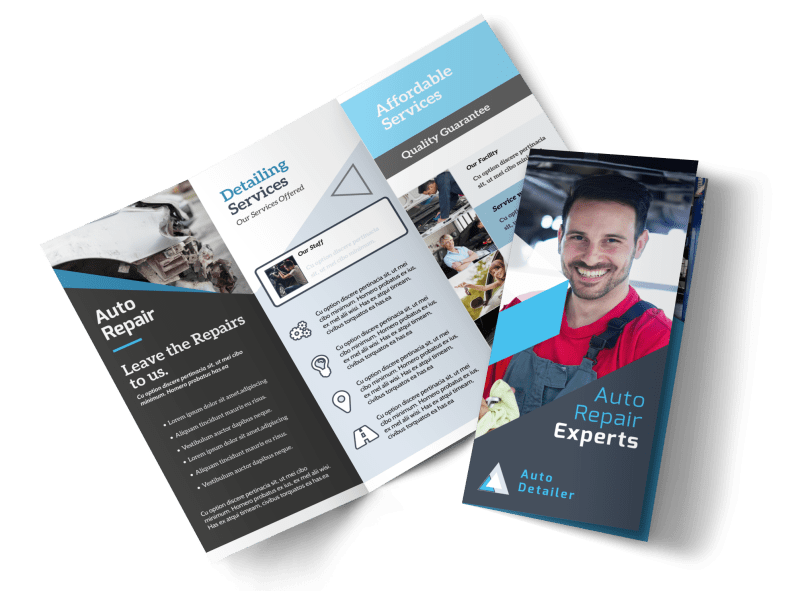 Auto Repair Experts Tri-Fold Brochure Template Preview 1
