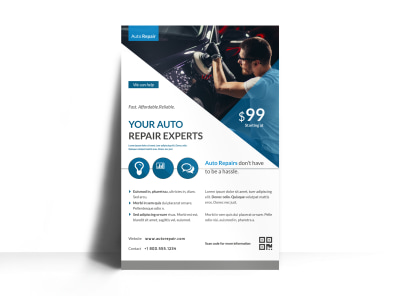 Clean Auto Repair Poster Template preview