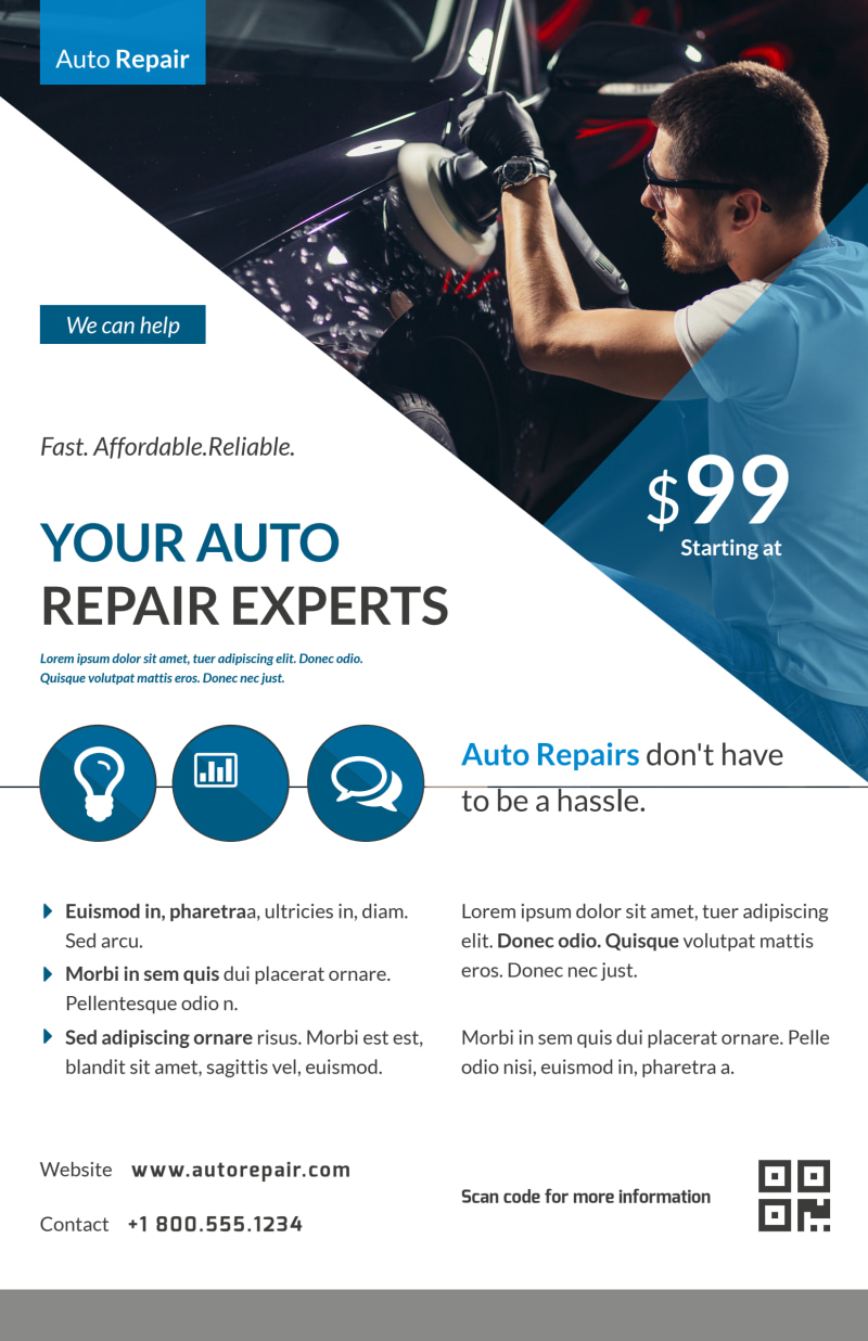 Clean Auto Repair Poster Template Preview 2