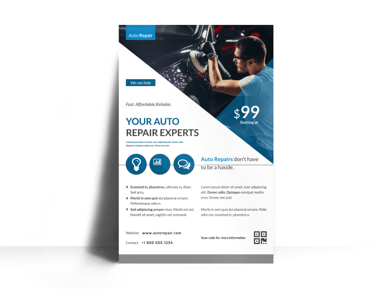 Clean Auto Repair Poster Template Preview 1