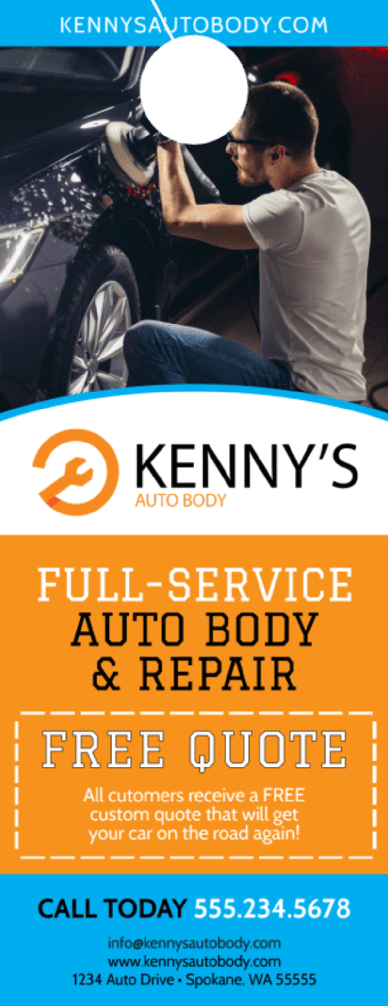 Free Quote Auto Repair Door Hanger Template Preview 2