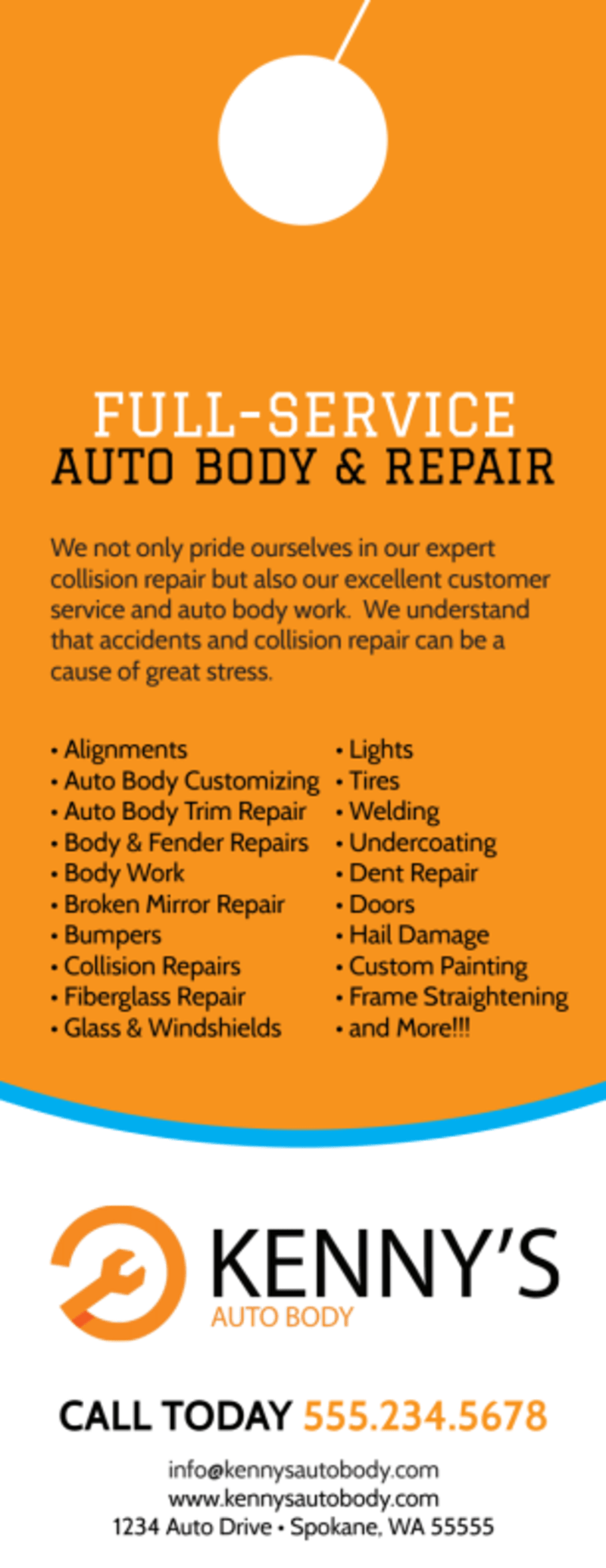 Free Quote Auto Repair Door Hanger Template Preview 3