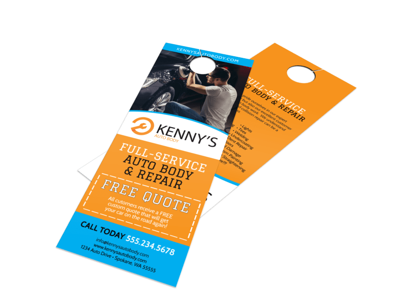 Free Quote Auto Repair Door Hanger Template Preview 1