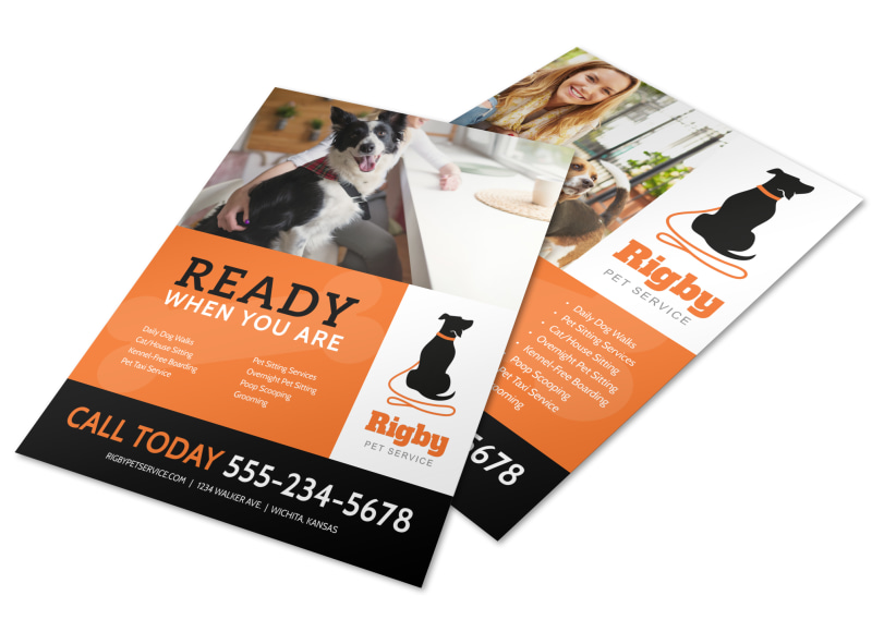 Ready When You Are Dog Walking Flyer Template Mycreativeshop