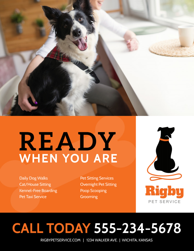 Ready When You Are Dog Walking Flyer Template Preview 2
