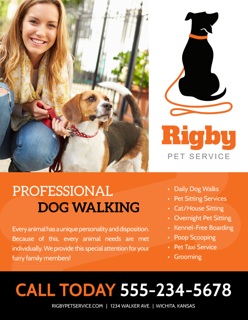 Ready When You Are Dog Walking Flyer Template Preview 3