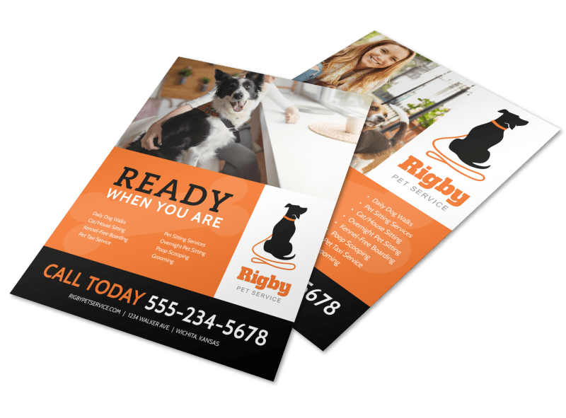 Ready When You Are Dog Walking Flyer Template Preview 1