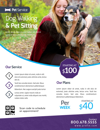 Dog Walking & Pet Sitting Flyer Template Preview 1