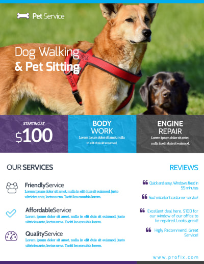 Dog Walking & Pet Sitting Flyer Template Preview 2