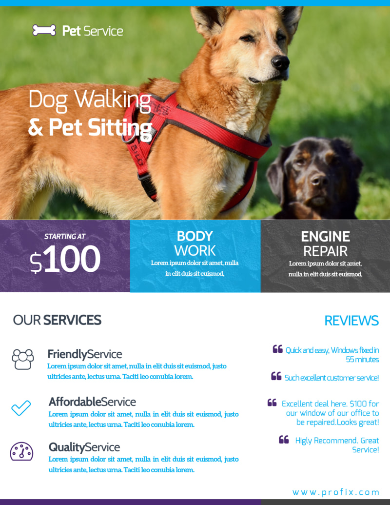 Dog Walking & Pet Sitting Flyer Template Preview 3