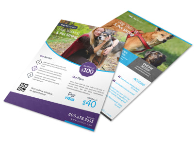 Dog Walking & Pet Sitting Flyer Template preview