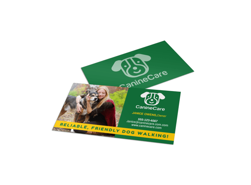 Friendly Dog Walking Business Card Template Preview 1