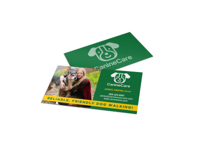 Friendly Dog Walking Business Card Template preview