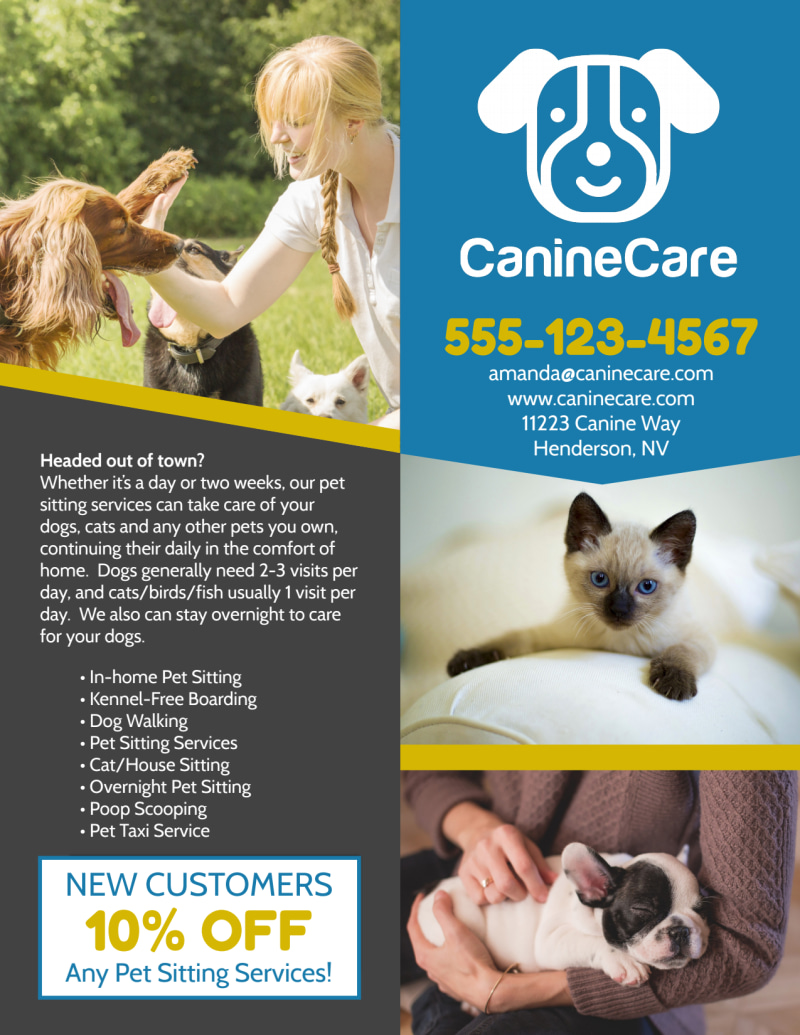 Like Home Pet Sitting Flyer Template Preview 3