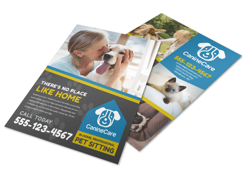Like Home Pet Sitting Flyer Template Preview 1