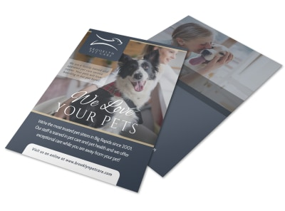 We Love Pet Sitting Flyer Template preview