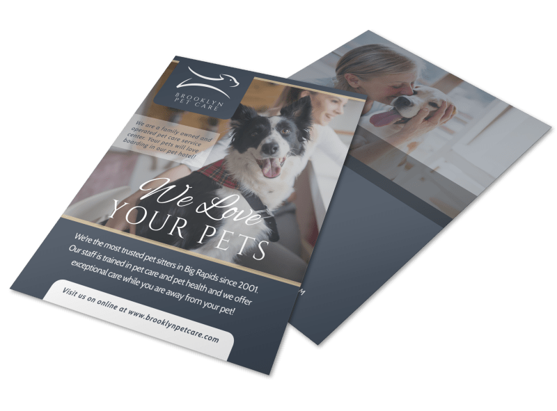 We Love Pet Sitting Flyer Template Preview 1