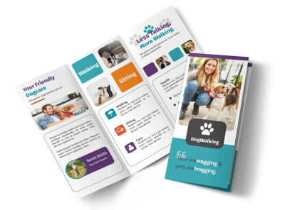 Pet Sitting Tri-Fold Brochure Template preview