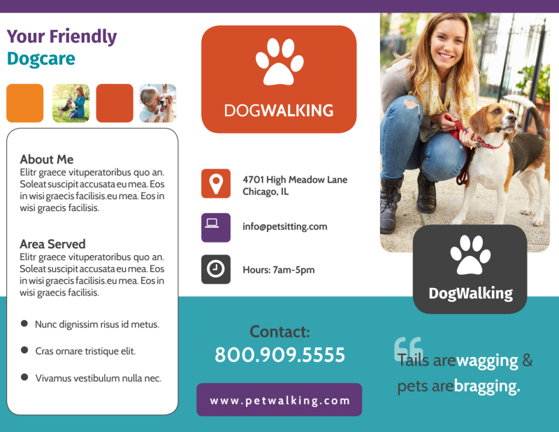 Pet Sitting Tri-Fold Brochure Template Preview 2