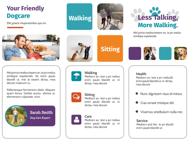 Pet Sitting Tri-Fold Brochure Template Preview 3