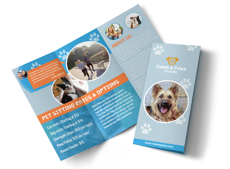 Playful Pet Sitting Tri-Fold Brochure Template Preview 4