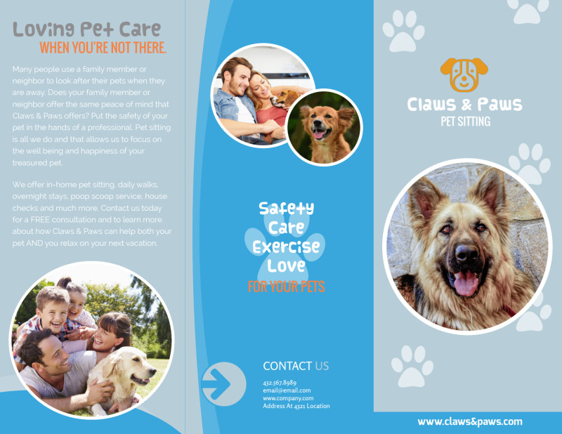 Playful Pet Sitting Tri-Fold Brochure Template Preview 2