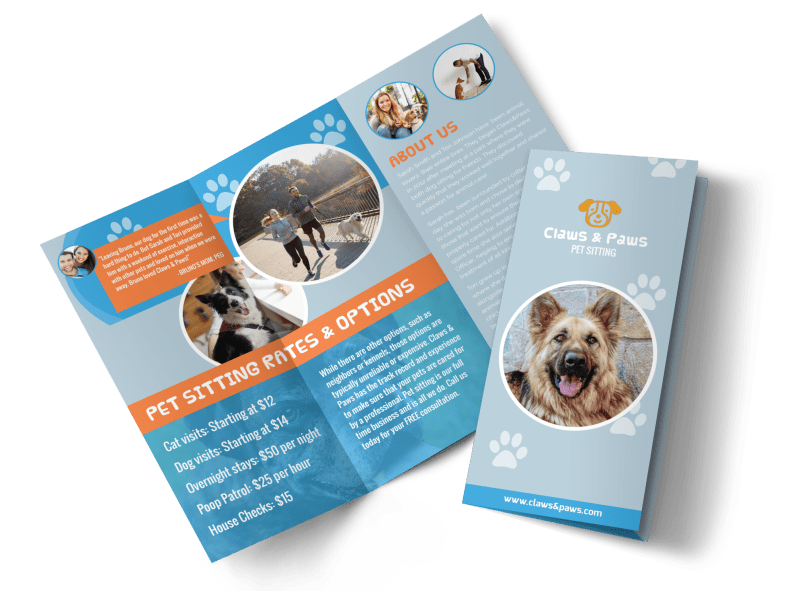 Playful Pet Sitting Tri-Fold Brochure Template Preview 1