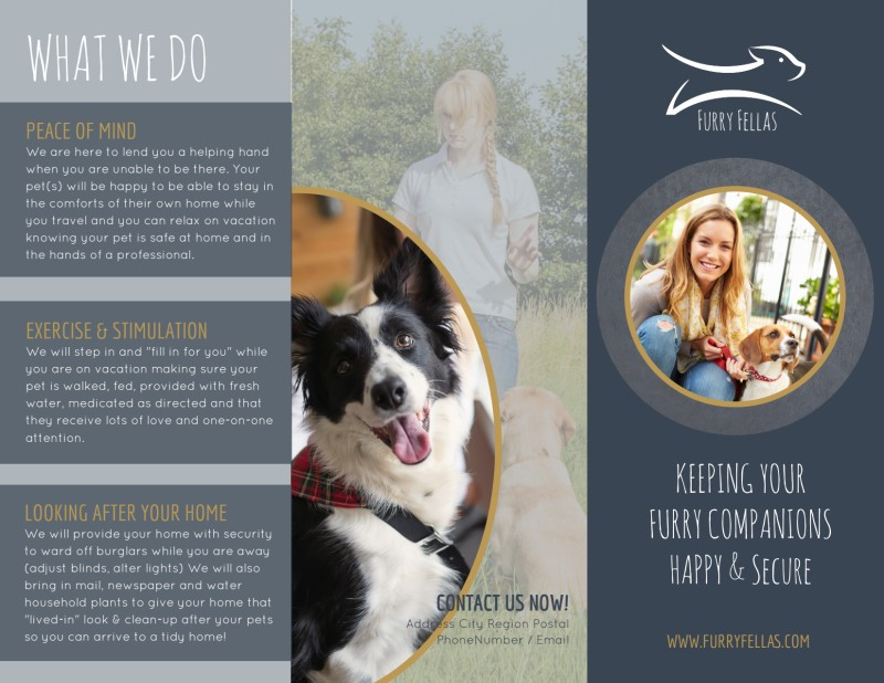 Happy Pet Sitting Tri-Fold Brochure Template Preview 2