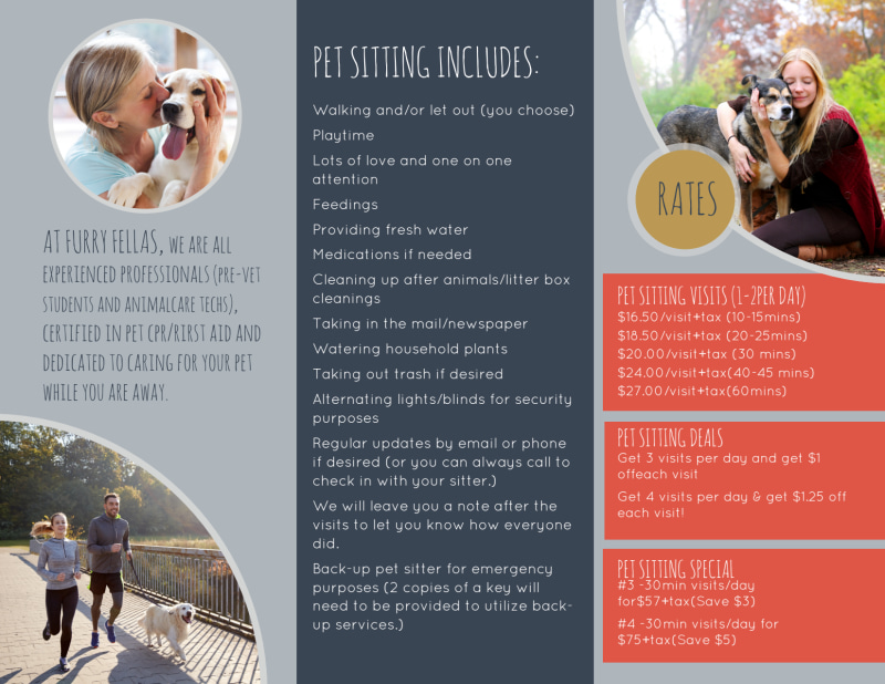 Happy Pet Sitting Tri-Fold Brochure Template Preview 3