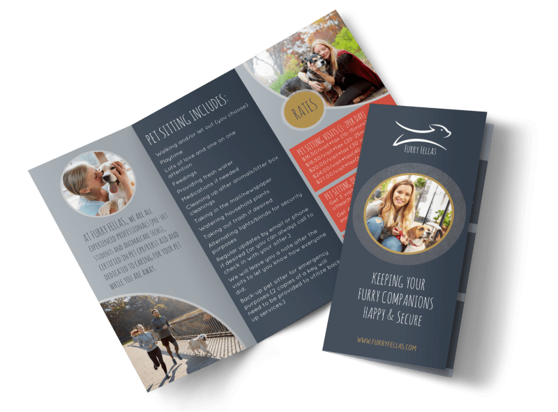 Happy Pet Sitting Tri-Fold Brochure Template Preview 1