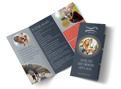 Happy Pet Sitting Tri-Fold Brochure Template preview