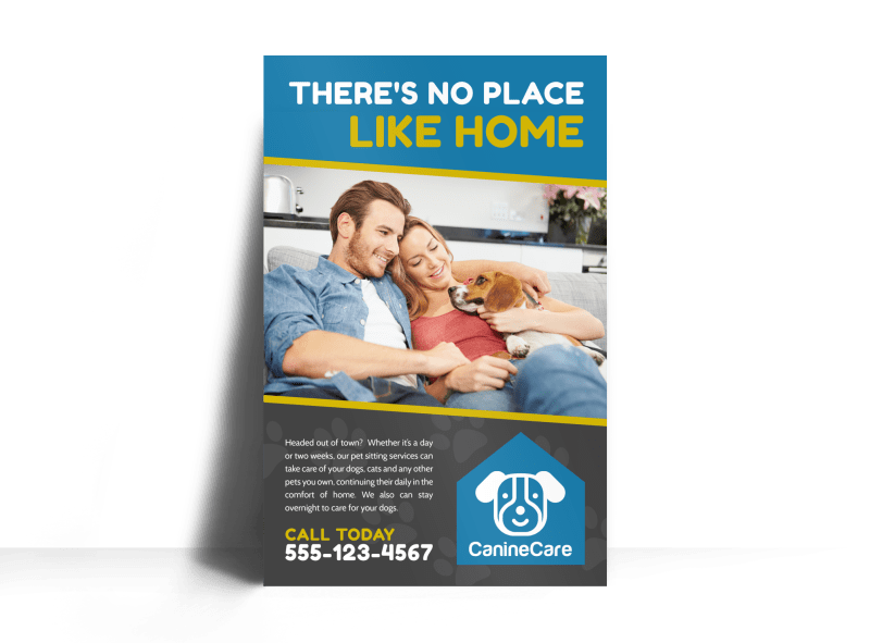 Like Home Pet Sitting Poster Template Preview 1