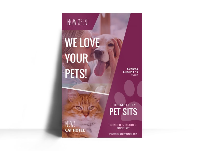 Chicago Pet Sitting Poster Template
