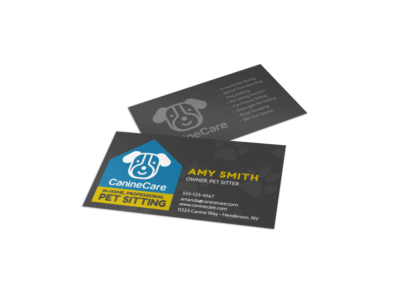 In-Home Pet Sitting Business Card Template Preview 1