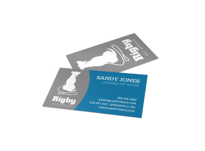 Rigby Pet Sitting Business Card Template preview
