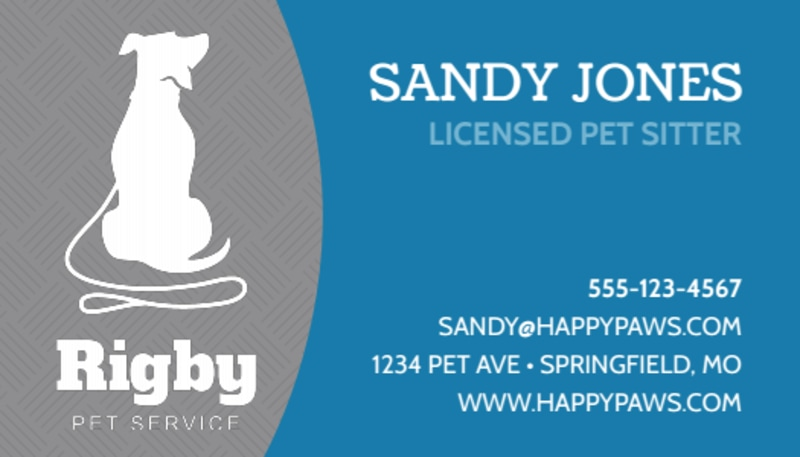 Rigby Pet Sitting Business Card Template Preview 2