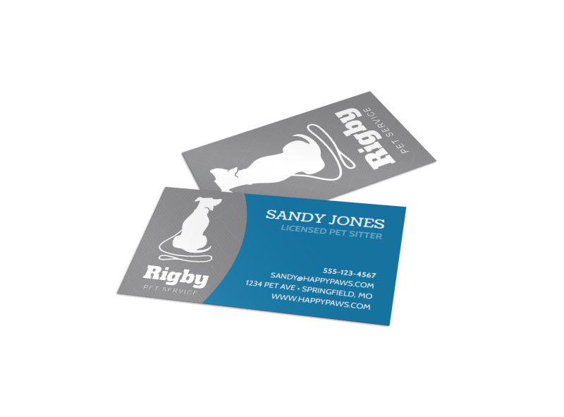 Rigby Pet Sitting Business Card Template Preview 1