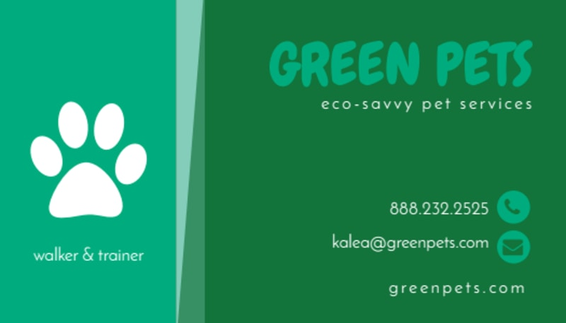Green Pet Sitting Business Card Template Preview 2