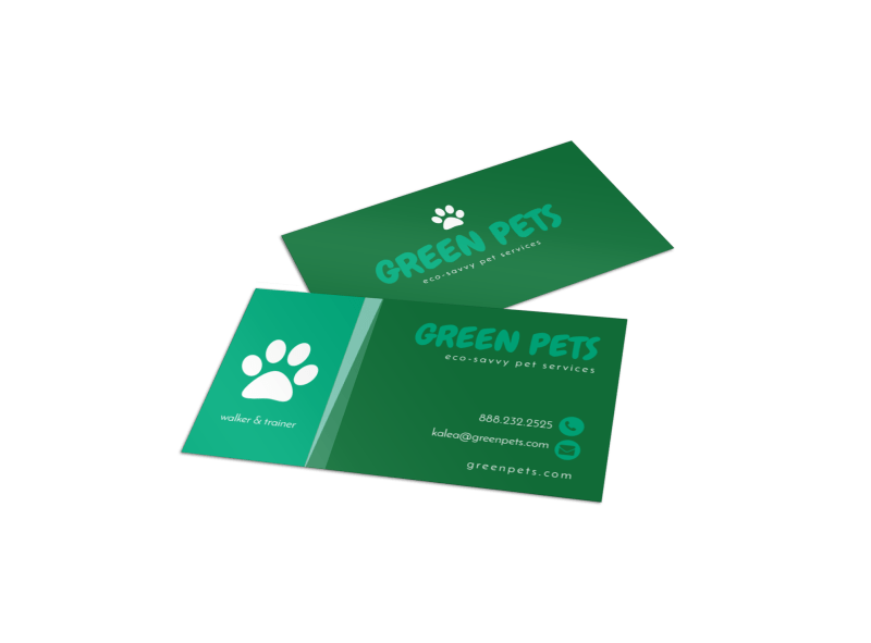 Green Pet Sitting Business Card Template Preview 1